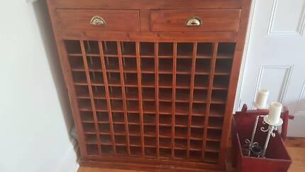 Solid timber Wine Rack for 81 wine bottles