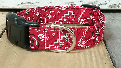 Red Bandana BUCKLE Dog Collar with leash set option