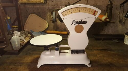 Antique PENNSYLVANIA Scale 4 Pound Candy Store White Porcelain Counter Top-GR8