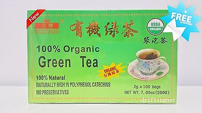 New Fresh 100 Tea Bags Royal King 100% Natural Organic Green Tea USDA CERTIFIED