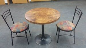 "Dinning Table set  30"" diameter with steel base plus 2 chair"