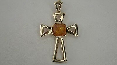 - Vintage Cross with Amber Cushion Yellow Gold Fine Jewelry