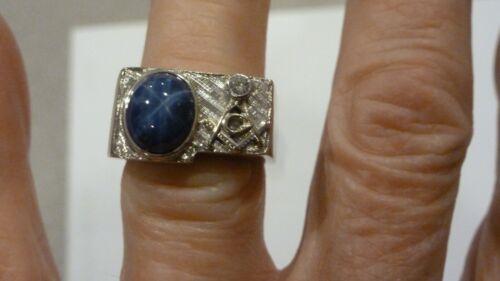 VINTAGE 14K WHITE GOLD MASONIC DIAMOND BLUE LINDY STAR SAPPHIRE RING SIZE 8
