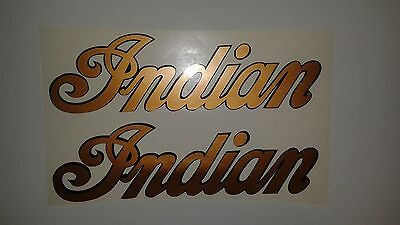 Set of 2 Indian motorcycle tank decals copper and black Marine Vinyl 6.5 x 2