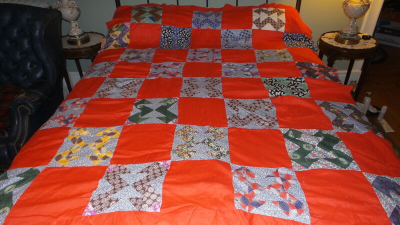 "Antique Patchwork QUILT TOP Pattern Unknown, Red, 76""x62"""