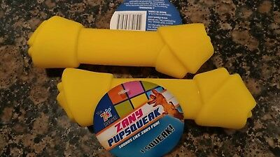 "medium to large Dog toy with squeaker TWO Latex Dog bones 7"" Zany Toy Squeaky"