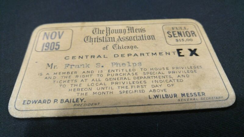 Antique YMCA Membership Card Central department chicago 1905.  (R100)