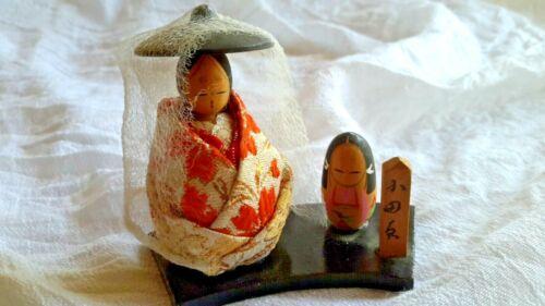 JAPANESE VINTAGE ART DOLLS NINGYO SILK WOOD CARVED SCULPTURE NOH VEILED KIMONO