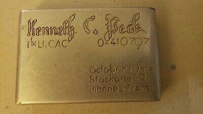Vintage World War 2 ERA Trench Art Cigarette Case US ARMY WW ll