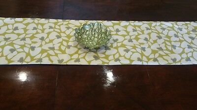 Luxury linen table runner with modern pattern: linen beige, soft grey & olive.