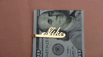 "VINTAGE 14K YELLOW GOLD MIKE TIE CLIP / MONEY CLIP - 1 5/8"""