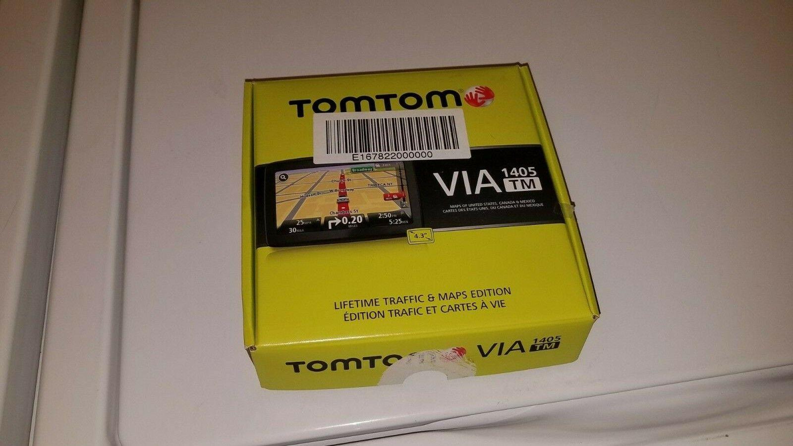 TomTom VIA 1405TM 4.3 Inch Portable GPS Navigator With Lifetime Traffic Maps - $20.00