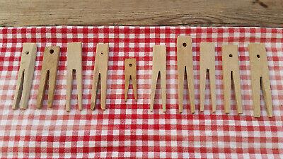 Antike Leinen Holz (Antike Holz Wäscheklammern 10 Stück geschnitzt Omas Wäscheleine Bastler Unikate!)