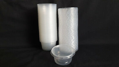 50pcs Small 2.5oz (80ml) Plastic Disposable Round Containers Buckets Foodstuff