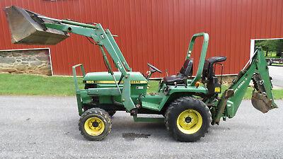 1997 John Deere 955 4x4 Compact Utility Tractor W Loader Backhoe Tlb 33hp
