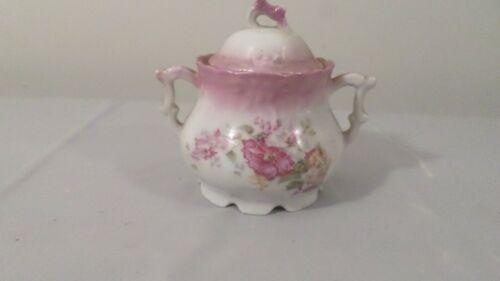Vintage Pink Trim Pink Floral Sugar Bowl with Lid