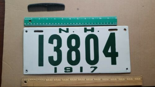 License Plate, New Hampshire, 1917, Porcelain, Nicely Restored, 13804