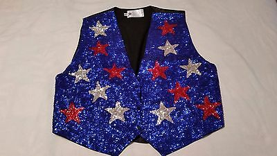 JC Sequin Vest - Blue w/ Red & White Stars - Patriotic - 4th of July - Halloween - Halloween Blues