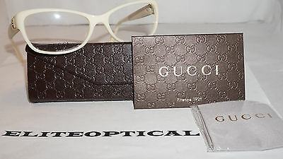 GUCCI RX Eyeglasses New Authentic Ivory Ice Leather GG 3639 0YA 53 16 135 Italy