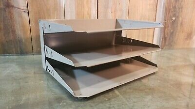Vintage Tan Metal Industrial Lit-ning 3 Tier Paper File Desk Wall Organizer