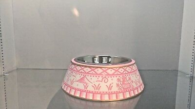 Darling New Chinoisserie Metal Dog Bowl   Pink   Large
