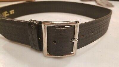 Black Basketweave Leather Duty Belt Police Size 46.pando Leather Free Shipping