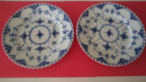 """ROYAL COPENHAGEN Blue Fluted Double Lace 7"""" SALAD PLATE small flaws #1087"""