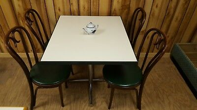 Cafe Table 30 X 36 Gray Laminate With Green Rubber Edge