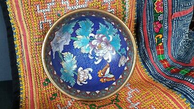 Old Chinese Blue Cloisonné Brass Bowl …beautiful colour and patina