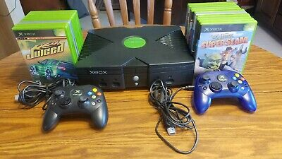 Microsoft Xbox Original Console ( untested) 2 Controllers and 18 Games Lot