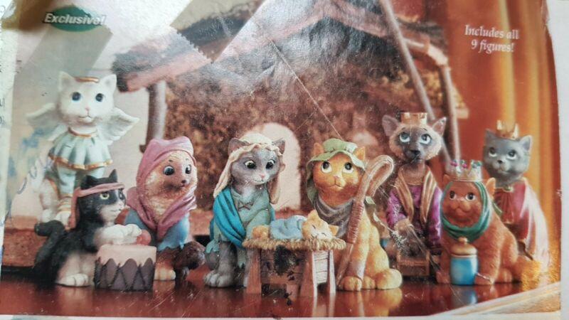 Set of 9 Resin Christmas Cat Nativity Manger Scene Figurines - NEW Open Box