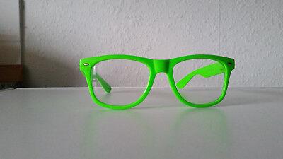 Trendige Nerd Rahmen-Brille ohne Stärke, Buddy Holly Brille - neongrün