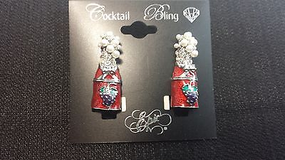 """""""Cocktail Bling"""" Red Champagne Bottle Pearl Accented Earring"""