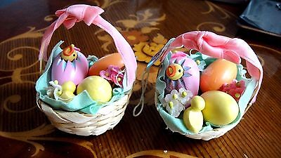 EASTER BASKETS WITH WOODEN EGGS & CHICKS  BY LAURA ANDERSON FOR LE PASTEL - Wooden Easter Baskets
