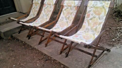 VINTAGE OAK SLING DECK SWING CHAISE LOUNGE ANTIQUE FOLDING BEACH /POOLSIDE CHAIR