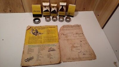 Vintage Lot Of 5 John Deere Oem Bushing Parts In Boxes Plus 1940s Jd Catalog