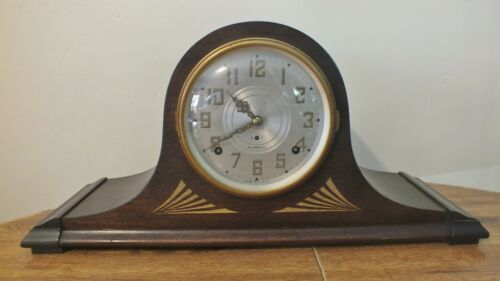"20"" Plymouth Seth Thomas Tambour Mantle Pendulum Clock 8 Day Chimes Runs"