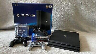 Sony PlayStation 4 Pro 1TB 4K Console - Jet Black + Games + Controllers + Extras