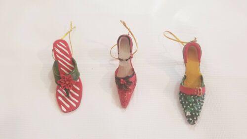 Christmas Tree Ornament  High Heel Shoe Lot of 3