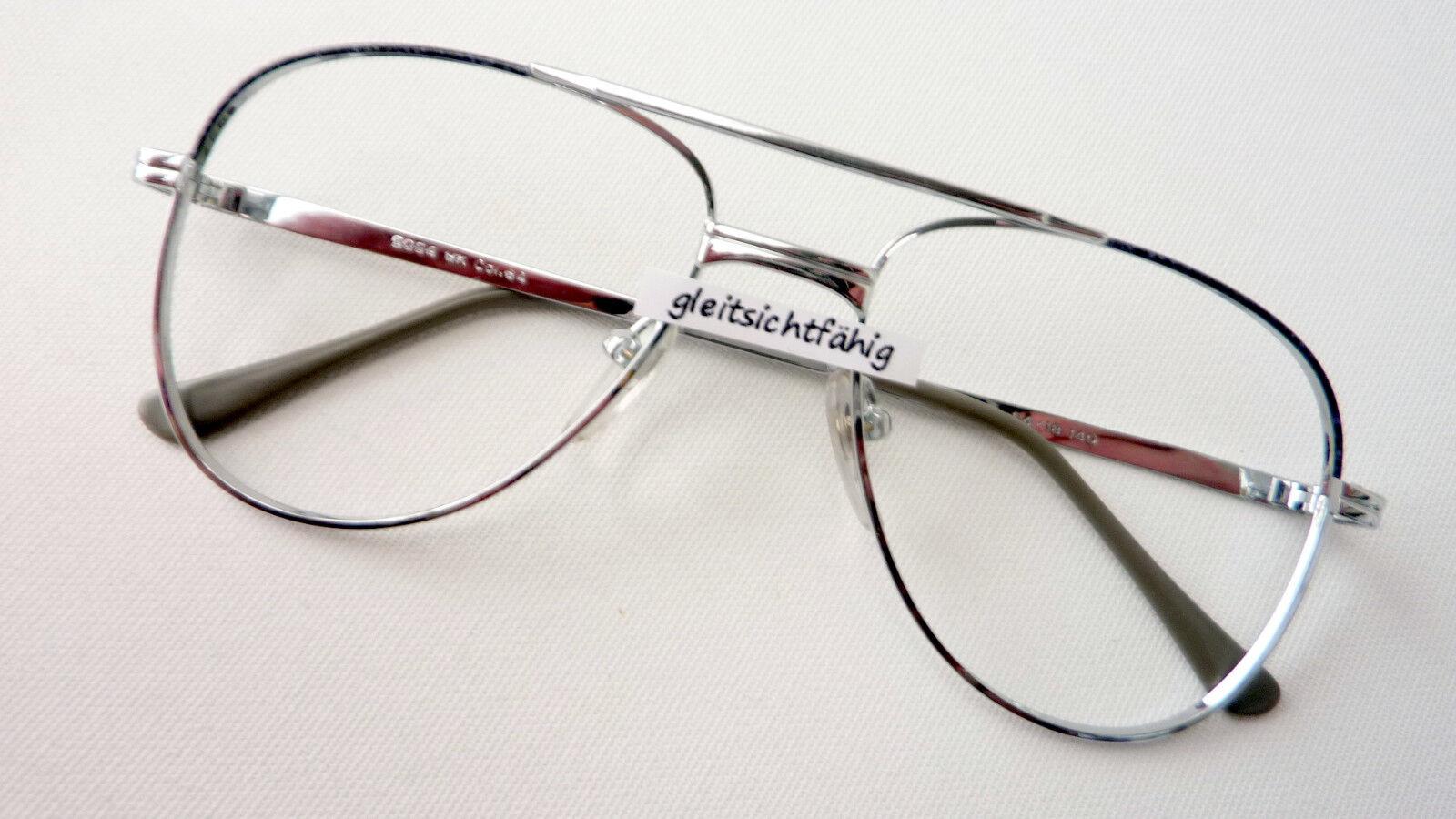 Brille Metall Gestell große Gläser Pilot Form Herren occhiali günstig Grösse L