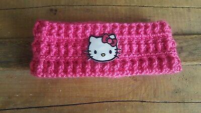 Hello Kitty Child/Youth Crochet Ear Warmer Hello Kitty Pink Crochet Headband - Hello Kitty Headband Ears