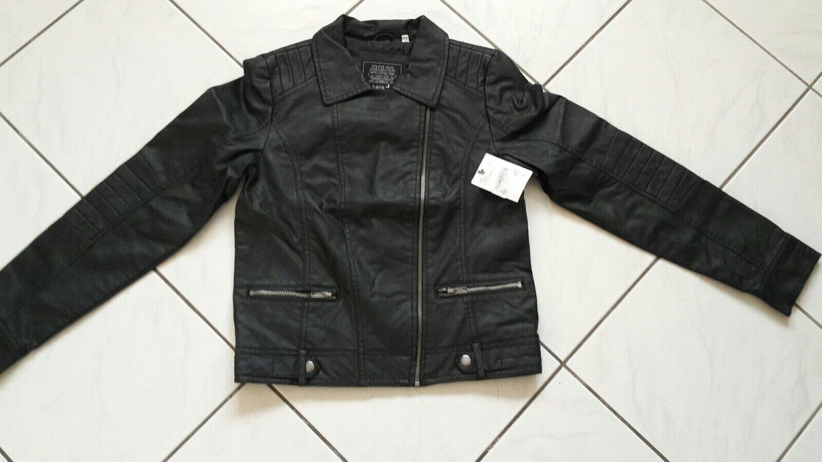 Bikerjacke Lederimitat Mädchen Jacke Gr. 158 neu mit Etikett schwarz