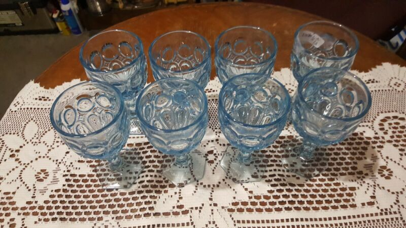 Fostoria Moon stone Light Blue Wine Goblets 8 Each