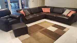 leather lounge Brown Peakhurst Hurstville Area Preview