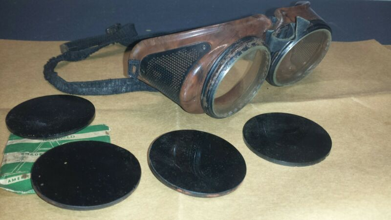 Vintage Goggles Safety Welding Dark Glass Lenses Tortoiseshell Cosplay Steampunk