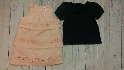 Janie Jack 12-18 Month Watercolor Peach Eyelet Dress Navy Blue Satin Top Shirt