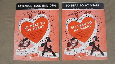 "Lot of 2 Disney Sheet Music,1948,""So Dear to My Heart/Lavender Blue Dilly Dilly"""