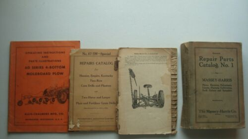 4 - Massey Harris - Allis Chalmer - IH - Repair Parts Catalogs - Rare - Antique
