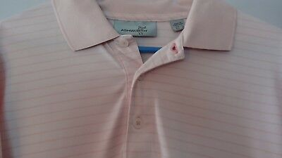 Nice! Ashworth Short Sleeve polo Golf Shirt Men's L Pink Striped 100% polyester ()