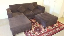 Chocolate 3 seater sofa with return and ottoman Petersham Marrickville Area Preview